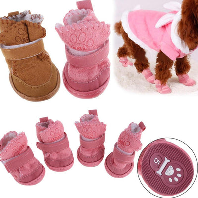 Non-slip Cotton Waterproof Warm Winter Dog Shoes Thick Soft Bottom Snow Boot for Small Dog