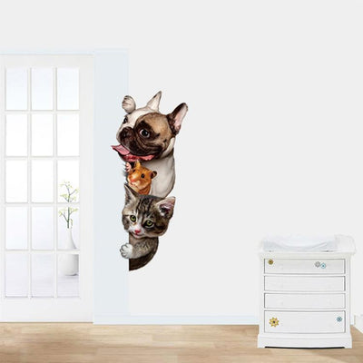 3D Cat Dog and Mice Wall Stickers