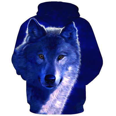 3D  Royal Blue Wolf-Dog Hoodie Sweatshirt