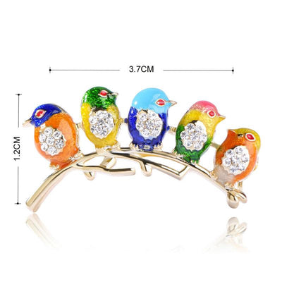Colorful Five Birds Brooch with Crystal Rhinestones for Men and Women