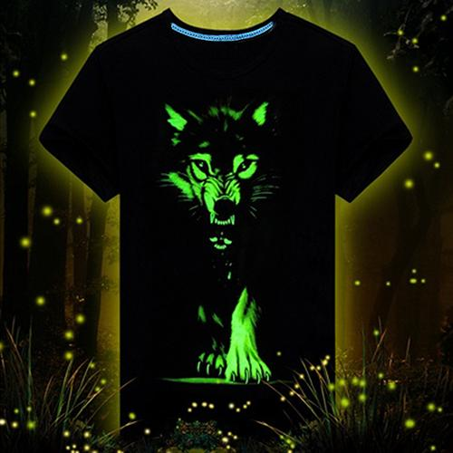 3D Glow in the Dark Wolf-Dog T-shirt