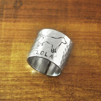 Personalized Dog Engraved Wide Band Rings for Women-Jewelry-DogBlabShop