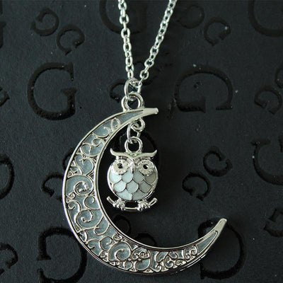 Glow in the Dark Moon and Owl Pendant Necklaces for Women