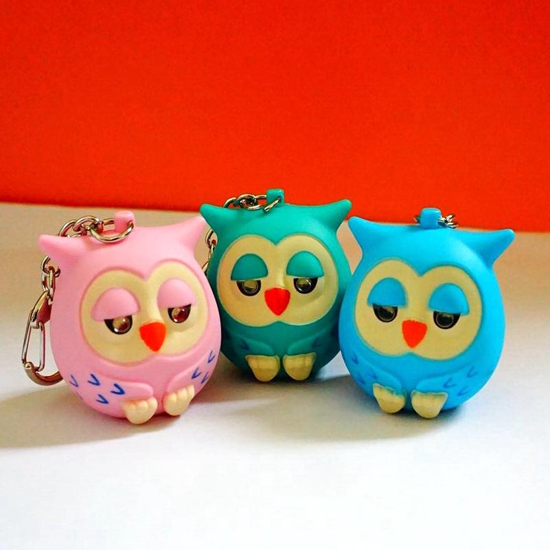 Cute Owl Key Chains with  LED Light and Sounds