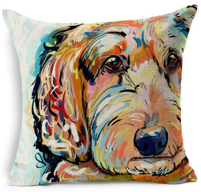 "Decorative Sofa  Linen Pillowcase | Cover With Beautiful Dog Printing  18""X18"""