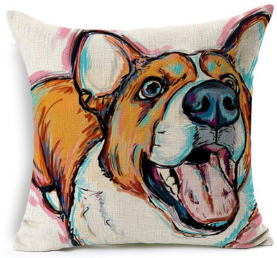 "Decorative Sofa  Linen Pillowcase | Cover With Beautiful Dog Printing  18""X18"" - DogBlabShop"