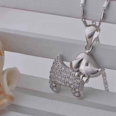 Classic Dog Pendant Necklace with Cubic Zirconia Stones for Women