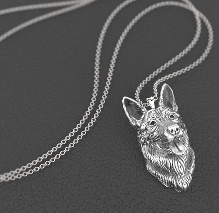 Vintage German Shepherd Pendant Necklace