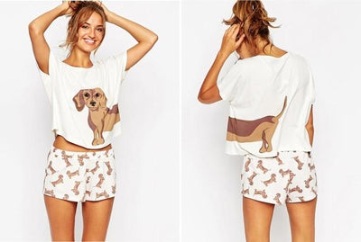 Cute Dachshund Top and Shorts Set for Women