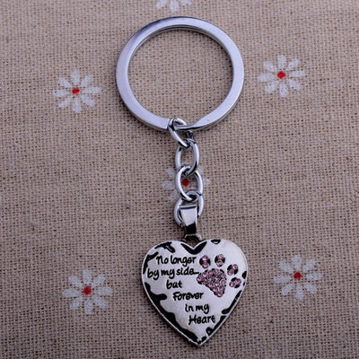 "Keychain ""No Longer By My Side But Forever In My Heart"" Love Heart Pink Dog Cat Paw Print-Key Chains-DogBlabShop"