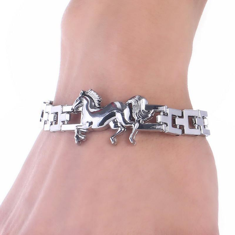 Stainless Steel Horse Charm Bracelet for Men