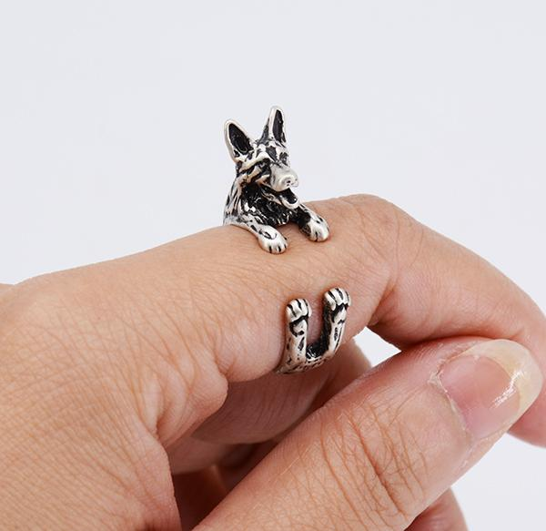 Vintage German Shepherd Wrap Rings for Men and Women