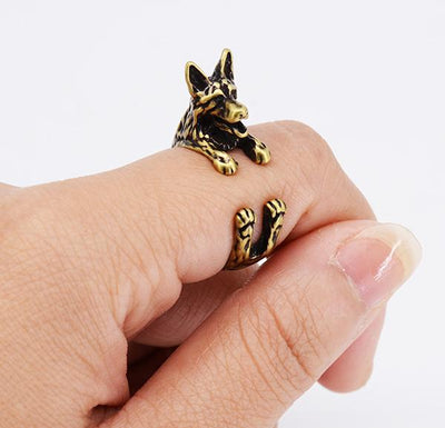 Vintage German Shepherd Wrap Rings for Men and Women-Jewelry-DogBlabShop