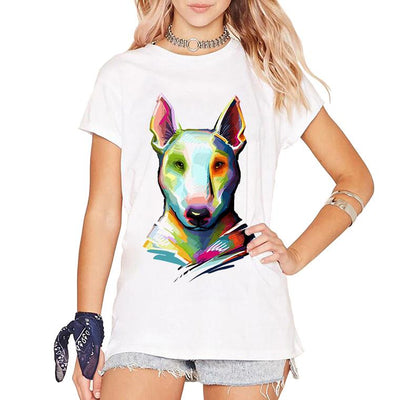 Vibrant Bull Terrier T-shirt for Women-Women's Apparel-DogBlabShop