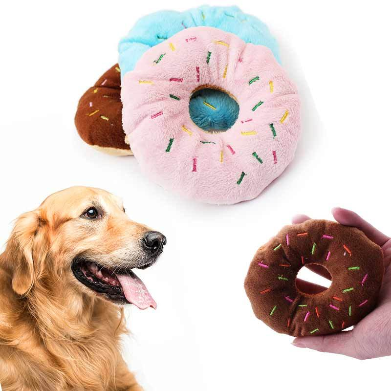 Cute Plush Doughnut Squeaky Toy for Dogs