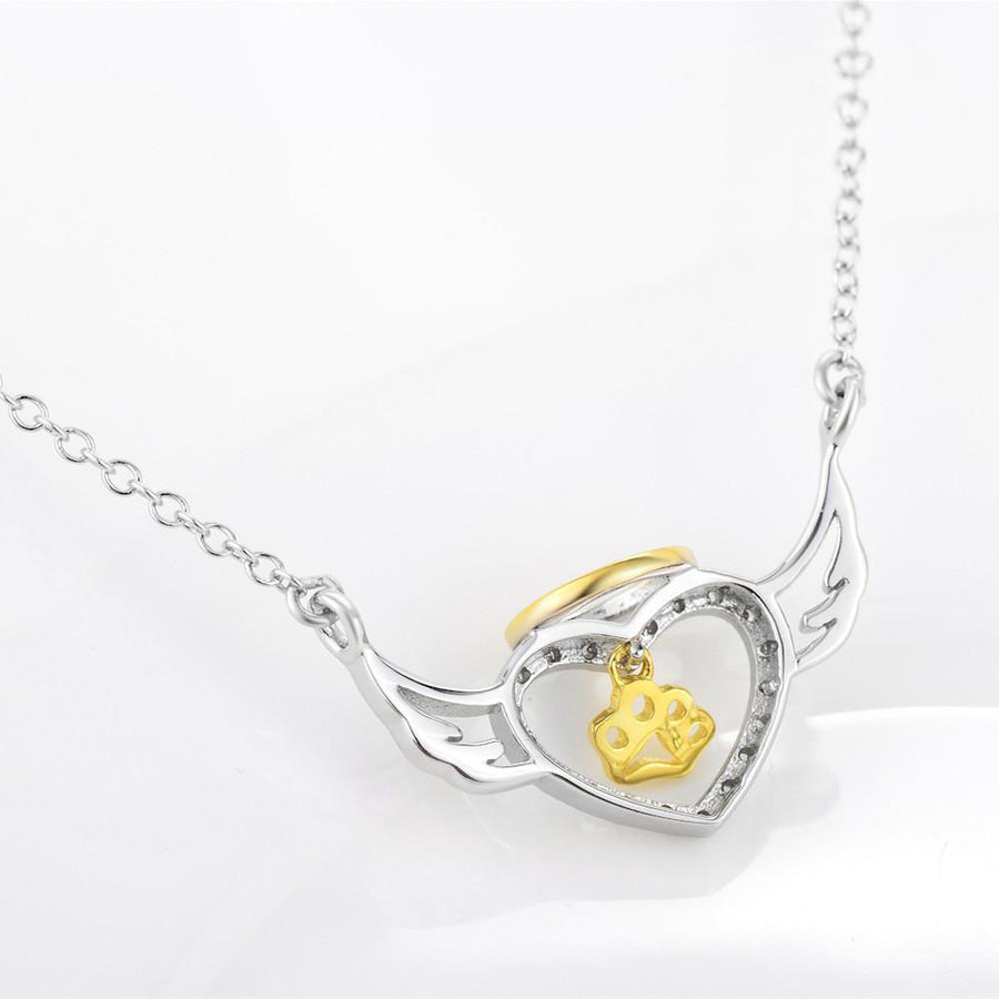 Angel Heart and Paw Print Pendant Necklaces for Women