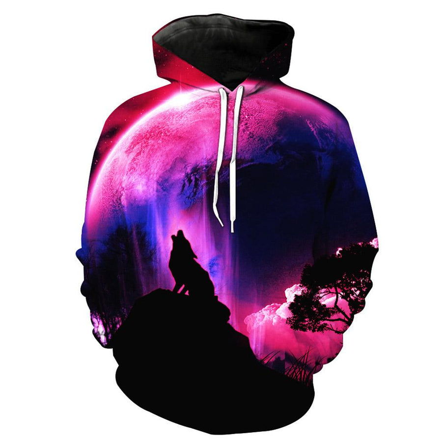 3D Dog-Wolf Pink Blue Moon Hoodie Sweatshirt