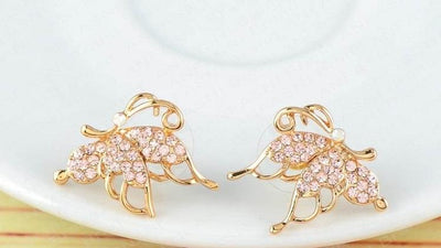 Gold Butterfly with Pink Crystals Stud Earrings for Women