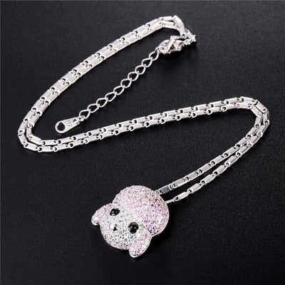 Colorful Cubic Zirconia Poodle Necklace Pendant For Women