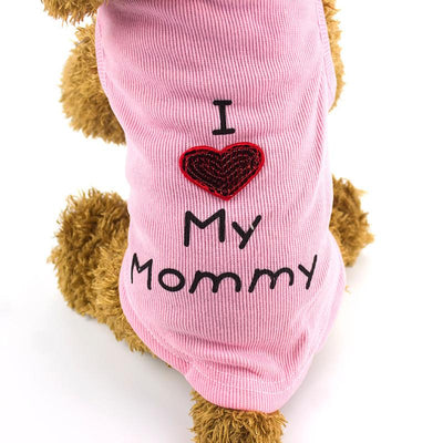 "Small Dog Quality T-shirts - ""I Love My Mommy"" and ""I Love My Daddy""-Dog Coats & Jackets-DogBlabShop"