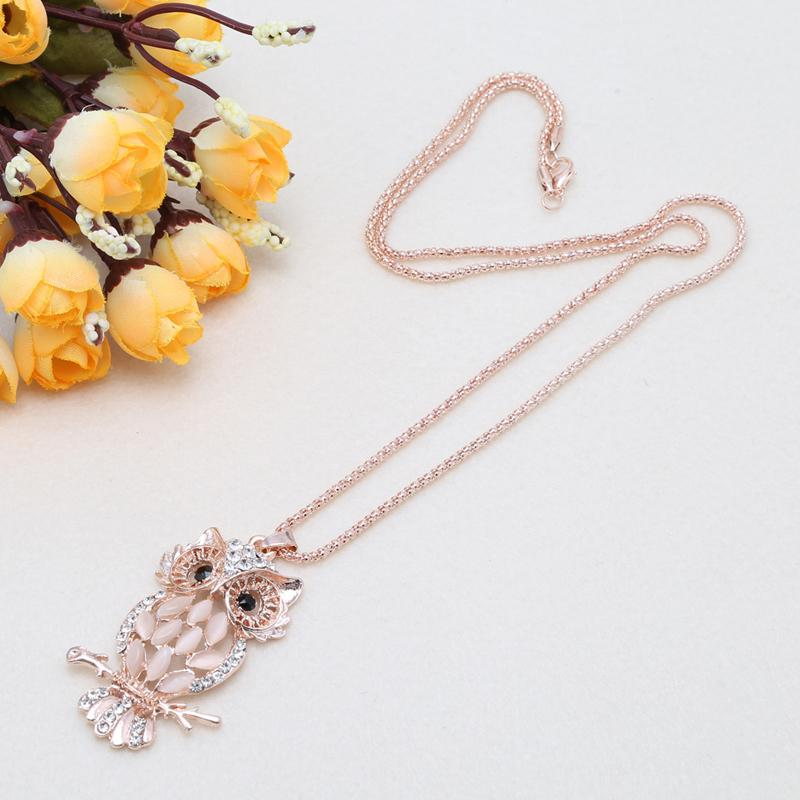 Sparkly Owl Pendant Necklace for Women