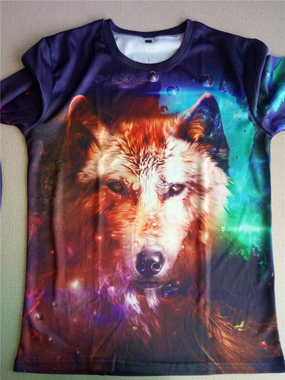 3D Galaxy Wolf-Dog Long Sleeved Shirts