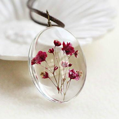 """A Little Flower Trapped in Time"" Glass Pendant Necklace for Women"