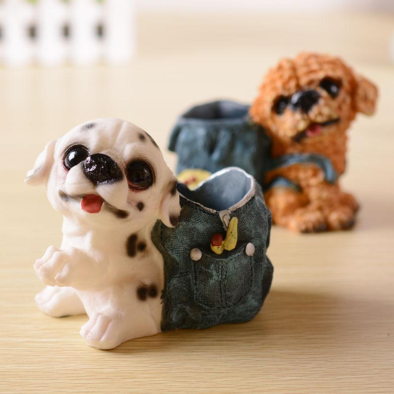 Happy Puppy Pen Holder Figurine
