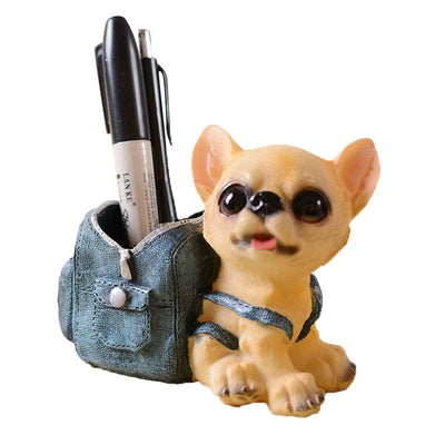 Happy Puppy Pen Holder Figurine-Home Decor-DogBlabShop