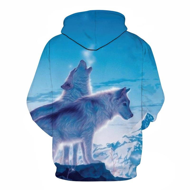 3D 2 White Dog-Wolves in Snow Hoodie Sweatshirt