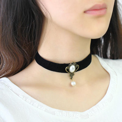 Classy Black Velvet Choker Necklace with Simulated Pearl Charm and Drop for Women