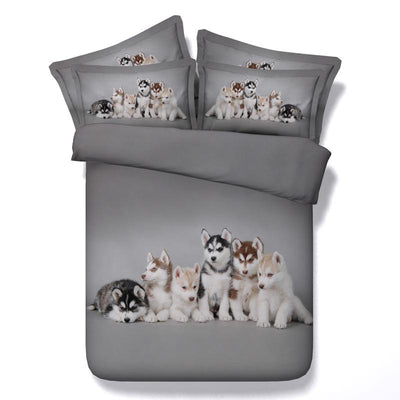 Beautifully Designed Husky Puppies 4pcs Bedding Set - DogBlabShop