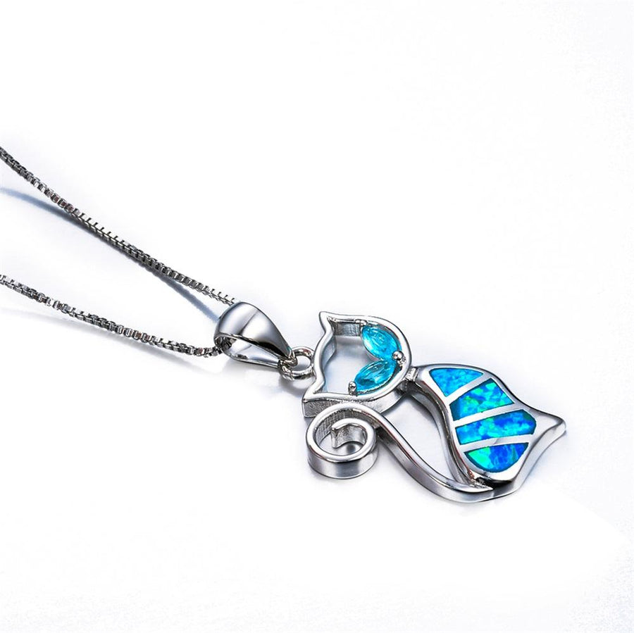 Blue Fire Opal Cat Pendant Necklaces for Women