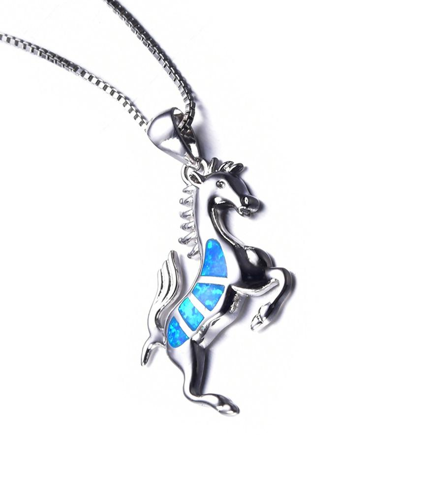 Blue Opal Horse Pendant Necklace for Women