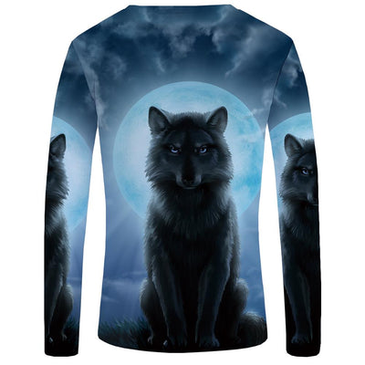 3D Dog-Wolf Long Sleeved Shirts for Men