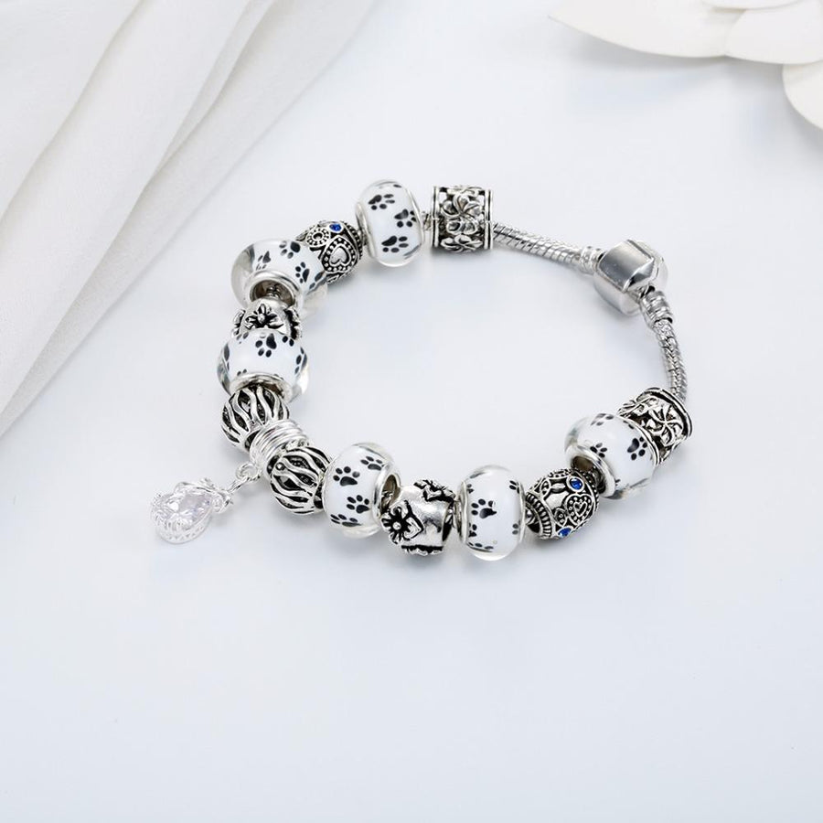Stylish Dog Print Beads and Ethnic Charm Bracelet with Crystal Drop Pendant for Women