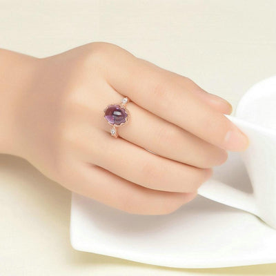3.5ct Purple Amethyst in Rose Gold Ring for Women