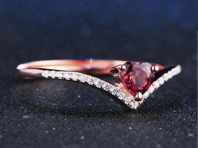 0.3ct Heart cut Red Garnet Ring for Women