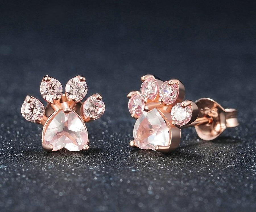 Rose Quartz Paw Print Stud Earrings for Women