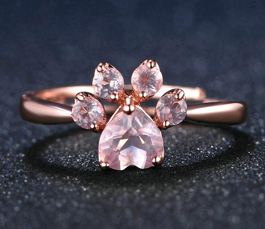 Rose Quartz Paw Print Rings for Women