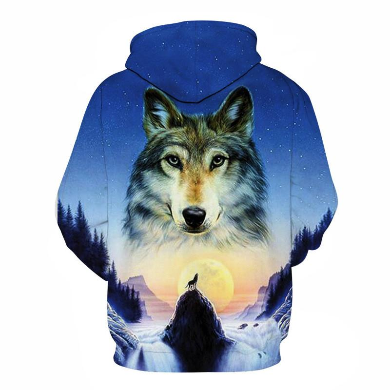 Wolf-Dog and Sunset  3D Hoodie Sweatshirt
