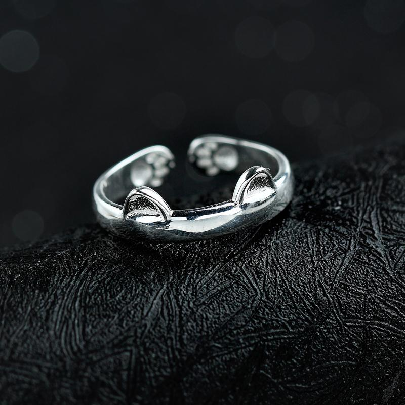 925 Silver Cat Ear and Paw Prints Ring for Women