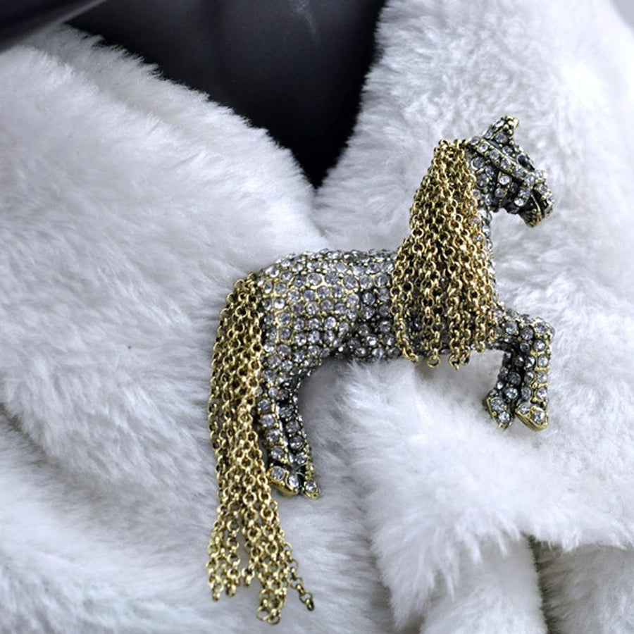 Antique Horse Brooch with Rhinestones for Men and Women