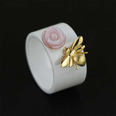 Bee Kiss from a Rose Ceramic Rings for Women