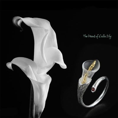 Fresh Calla Lily Flower Ring for Women