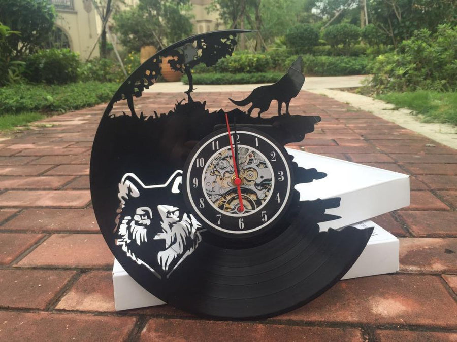Lone Wolf  Vinyl Record Wall Clock