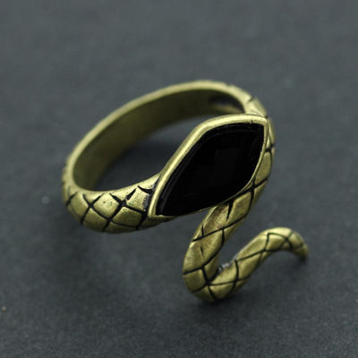 Entwined Snake Ring with Obsidian Stone for Men and Women