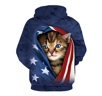 3D Cat in a Flag Hoodie Sweatshirt