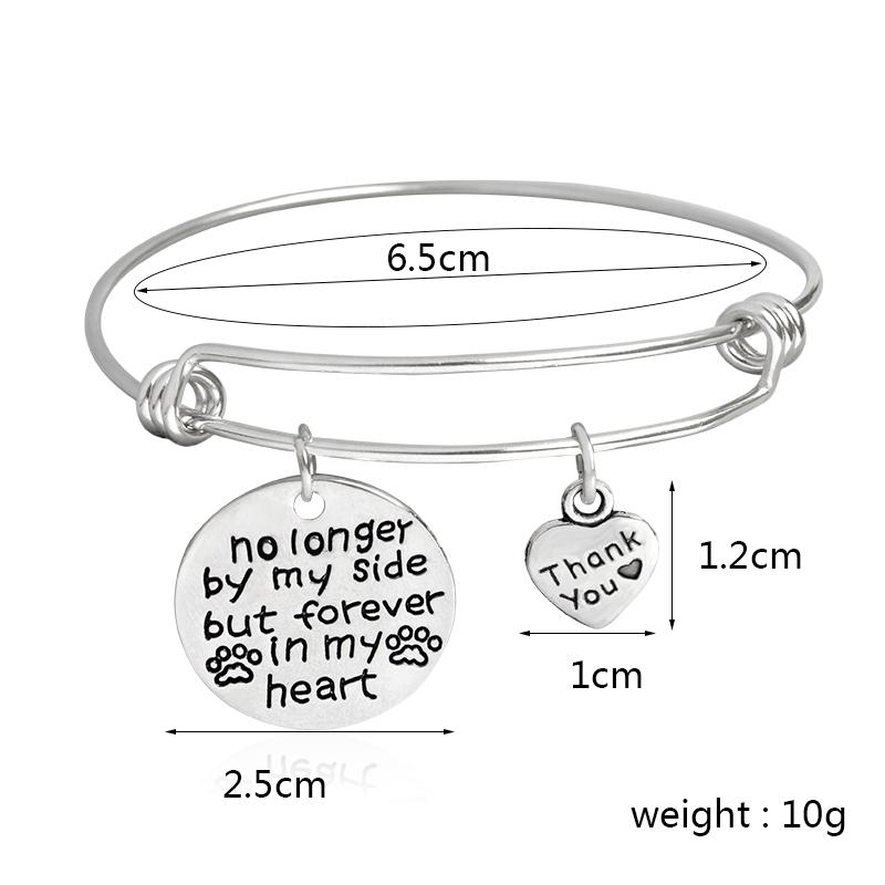 """No longer by my side but forever in my heart"" ""Thank you"" Bangle Bracelets"