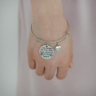 """No longer by my side but forever in my heart"" ""Thank you"" Bangle Bracelets - DogBlabShop"